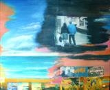 The Brighton trip I (Last train to London) by Diana Giménez-Figueroa, Painting, Mixed Media